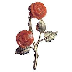 Vintage 14K Gold Carved Mediterranean Salmon Red Coral Rose Flower Floral Brooch