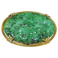 French Antique Art Nouveau 14K Yellow Gold Carved Chinese Rich Apple Green Jadeite Jade Brooch Pin