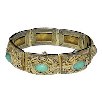 Vintage Chinese Gold Gilded Gilt Silver Filigree Apple Green Jadeite Jade Hinged Bracelet with Floral Butterfly Scene
