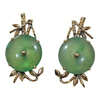 Art Deco 14K Yellow Gold Chinese Translucent Apple Green Jadeite Jade Earrings