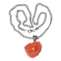Vintage Sterling Silver Carved Momo Salmon Red Coral Floral Flower Bouquet Pendant Necklace