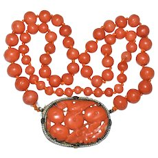 Enchanting Antique Art Nouveau Chinese Gold Gilded Silver Carved Momo Deep Salmon Red Coral Fruit Bird Flower Seed Pearl Pendant Necklace