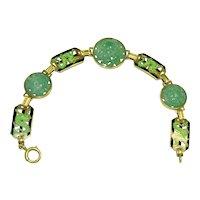 Enos Richardson Art Deco 14K Gold Enamel Stylized Dragon link Carved Antique Chinese Apple Green Jadeite Jade Bracelet