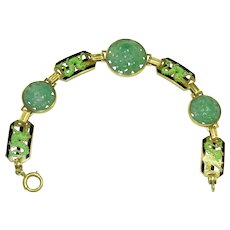 Enos Richardson Art Deco 14K Gold Enamel Stylized Dragon link Carved Antique Chinese Apple Green Jadeite Jade Bracelet