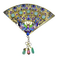 Vintage Chinese Gold Gilt Silver Filigree Enamel Fan Green Jadeite Jade Pink Tourmaline Butterfly Flower Floral Brooch Pin