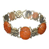 Vintage Chinese Sterling Silver Repousse Carved Carnelian Agate Flower Floral Linked Bracelet