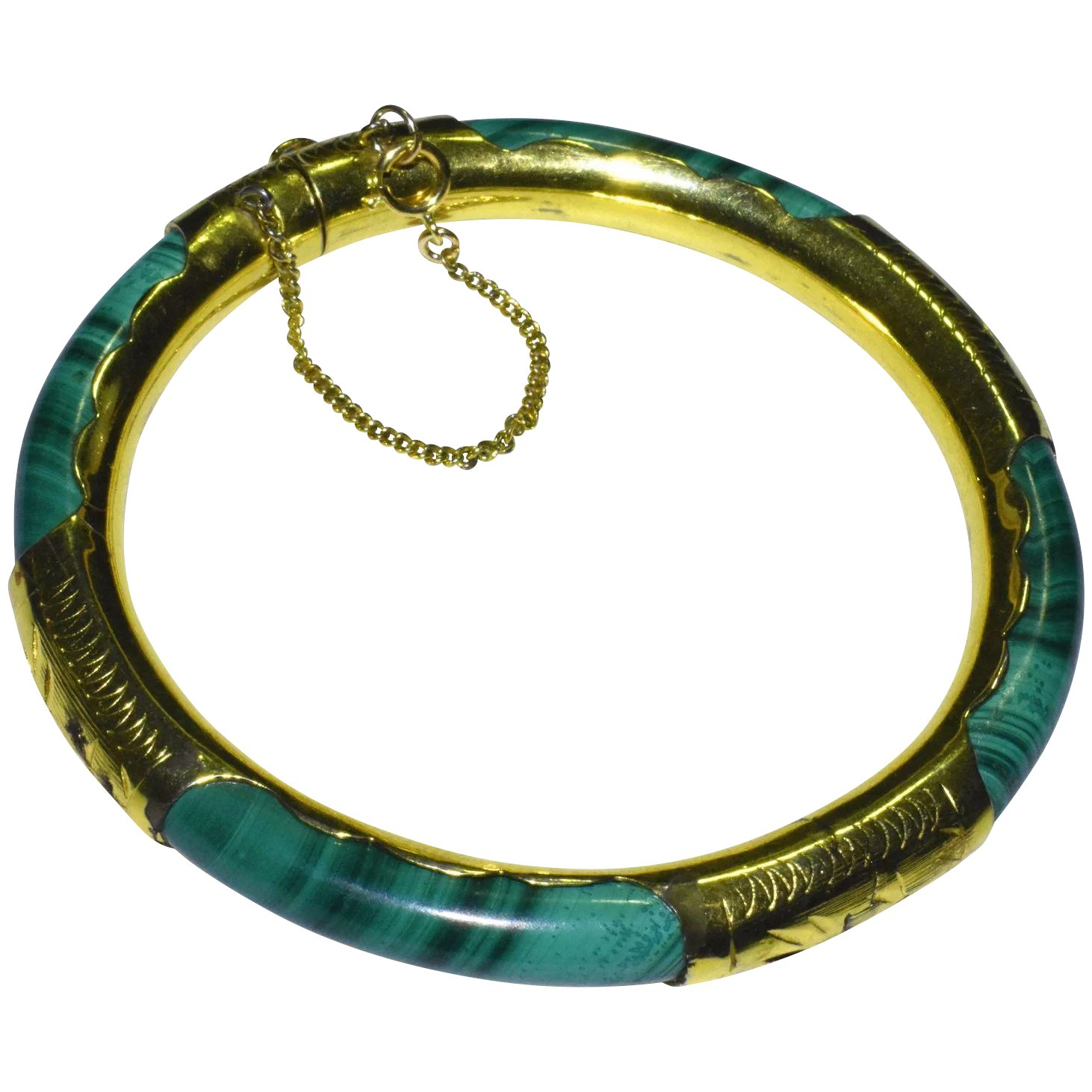 Vintage Chinese Gold Gilt Sterling Silver Malachite Hinged Bangle