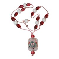 Vintage Chinese Reverse Painted Glass Pendant Beaded Necklace Bird Floral Flower Scene