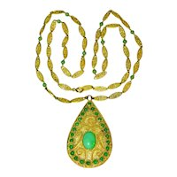 Magnificent Antique Art Nouveau Chinese 14K Yellow Gold Filigree Apple Green Jadeite Jade Pendant Necklace 34.4 Grams