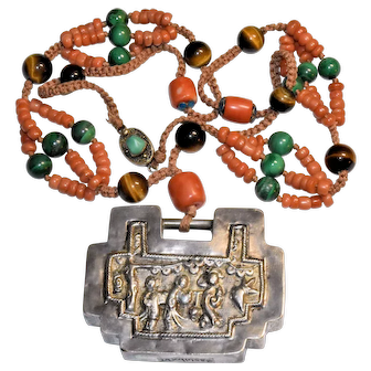 Enchanting Antique Chinese Silver Lock with Salmon Red Coral, Malachite, Tiger Eye, Turquoise, Enamel, Silk Knotted Pendant Necklace Marked