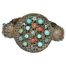Antique Chinese Gold Gilded Copper Filigree Enamel Floral Flower Turquoise, Coral Bangle Bracelet