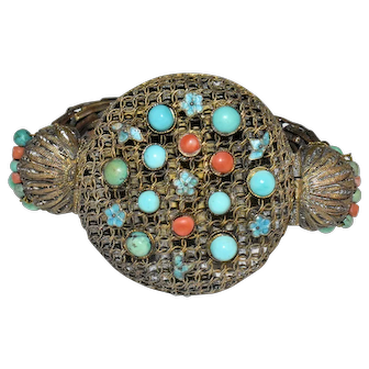 Antique Chinese Gold Gilded Copper Filigree Enamel Floral Flower Turquoise, Coral Bangle Bracelet