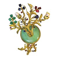 Antique Art Nouveau 14K Yellow Gold Carved Chinese Apple Green Jadeite Jade Emerald Sapphire Ruby Pearl Brooch Pin Weighs 29 Grams