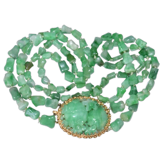 Enchanting Art Deco Chinese 14K Yellow Gold Apple Green Jadeite Jade Pendant Double Strand Necklace