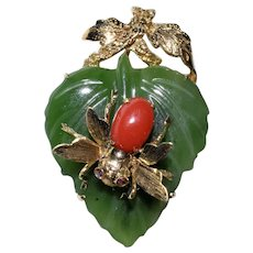 Vintage 14K Yellow Gold Carved Spinach Jade Leaf & AKA Oxblood Red Coral Bee with Ruby Eyes Brooch Pin