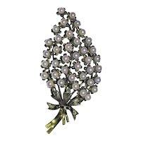 "Very Large 3-3/4"" Vintage 18K Gold Filled Vermeer Sterling Silver Cultured Pearls Flower Bouquet Pendant or Brooch"