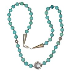 "Vintage Sterling Silver Natural Round 9 mm Turquoise Beaded Necklace 48.7 Grams 24"" Long"