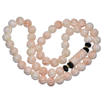 Vintage Chinese 14K Gold Carved Natural Angel Skin Pink Coral Pendant Necklace Jumbo Beads 222 Grams