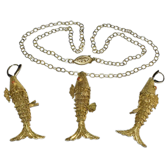 Vintage Chinese Gold Gilt Silver Filigree Koi Fish with Red Coral Eyes Pendant Necklace Earrings Set