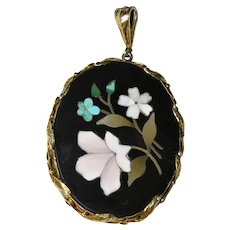 Victorian 14K Gold Victorian Pietra Dura Onyx Turquoise Mother of Pearl Pendant