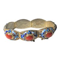Vintage Chinese Gold Gilt Silver Filigree Enamel Butterfly Flower Red Coral Hinged Bracelet