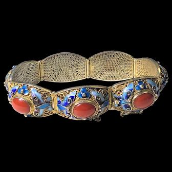 Vintage Chinese Gold Gilt Silver Filigree Enamel Butterfly Flower Red Coral Hinged Bracelet