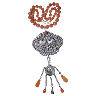 Impressive Large Vintage Sterling Silver Silver Repousse Peacock Bird in Lotus Flowers Scene with Carved Vintage Carnelian Agate Beaded Pendant Necklace