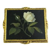 Large Antique Victorian 18K Yellow Gold Engraved Pietra Dura Mother of Pearl Brooch Pendant 19.26 Grams