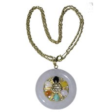 Vintage Chinese 14K Yellow Gold Lavender and Multi-color Jadeite Jade Pendant with 14k Yellow Gold Necklace