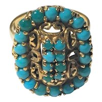 Antique Victorian 18k Yellow Gold Filigree Natural Persian Turquoise Ring