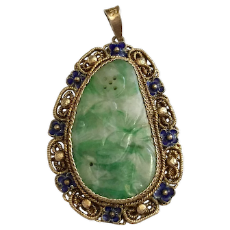 Vintage Chinese Gold Gilt Silver Filigree Enamel Carved Green Jadeite Jade Pendant