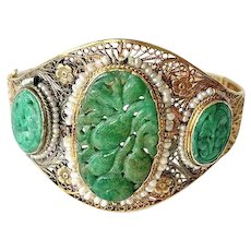 Antique Art Deco 14K Yellow Gold Chinese Carved Rich Apple Green Jadeite Jade Seed Pearl Bracelet