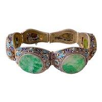 Vintage Chinese Gold Gilt Silver Filigree Enamel Floral Carved Jadeite Jade Hinged Bracelet