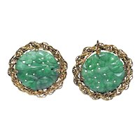 Antique Art Deco 14K Yellow Gold Carved Green Jadeite Jade Earrings with Floral Flower Scene