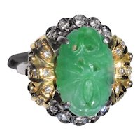 Vintage Chinese 18K Yellow and White Gold Carved Green Jadeite Jade Lotus Flower Floral Ring with Diamonds