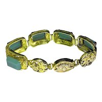 Antique Art Deco Chinese Gold Gilt Silver Bracelet with Rectangular Green Jade Like Aventurine Stone Cabs Koi Fish & Lotus Flower