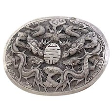 Antique Art Deco Indochina Silver Repousse Brooch Pin with Flying Double Dragons Among Clouds with Sho Symbol at Center