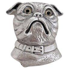 Enchanting Handmade Sterling Silver Bulldog Brooch Pin