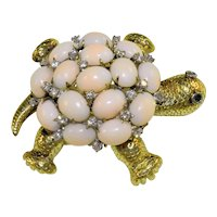 Vintage 14K Yellow Gold with Diamonds Emerald Angel Skin Pink Coral Turtle Brooch Flexible movable Head Tail & Feet