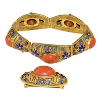 Antique Art Deco Chinese Gold Gilt Silver Filigree Enamel Large Salmon Red Momo Coral Cabs Bracelet and Brooch Pin Set