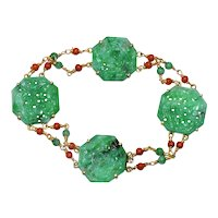 Antique Art Deco 14K Yellow Gold Chinese Carved Rich Green Jadeite Jade Red Coral Linked Bracelet