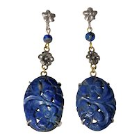 Antique Art Deco Chinese Mixed Metal Sterling Silver Carved Lapis Lazuli Floral Flower Earrings with Posts