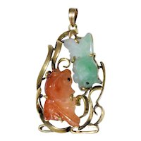 Pretty Vintage Chinese 14K Yellow Gold Carved Double Koi Fish Green and Russet Red Jadeite Jade Pendant