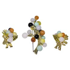 Vintage Gumps Gump's 14K Yellow Gold Multi-color Jadeite Jade Earrings and Brooch Set Signed