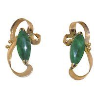 Vintage Chinese 14K yellow Gold Emerald Green Jadeite Jade Earrings with Posts