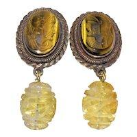 Vintage Signed Designer Artist Stephen Dweck Gold Gilt Sterling Silver Carved Citrine Tiger Eye Cameo Earrings Clips