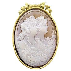 Antique 14K Yellow Gold Shell Cameo Goddess Butterfly Bow Brooch