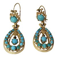 Antique Victorian 14K Yellow Gold Persian Blue Turquoise Earrings with Wires 11.8 Grams