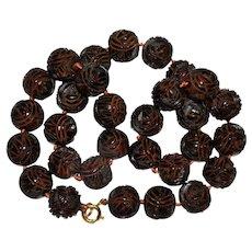 Antique Art Deco 15 mm Carved Cherry Amber Bakelite Beaded Necklace 56.8 Grams