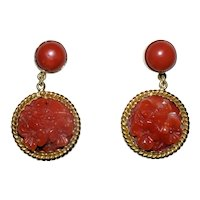 Antique Art Deco Italian 18K Yellow Gold Carved Aka Oxblood Red Coral Earrings Posts